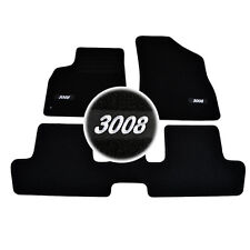 4 TAPIS SOL PEUGEOT 3008 A PARTIR DE 2009 TOUS MOQUETTE LOGO BLANC SUR MESURE