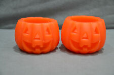 Pair Of (2) Halloween Pumpkin Shape Candle Decoration Party Horror Scenery New