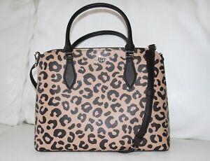 💚 Kate Spade Darcy Leopard Cheetah Print Large Satchel Purse Handbag Crossbody