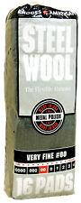 Case Rhodes American Steel Wool Grade 00 - Very Fine~ 6 bags of 16 pads