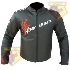 SUZUKI HAYABUSA BLACK/ORANGE MOTORBIKE MOTORCYCLE BIKER COWHIDE LEATHER JACKET