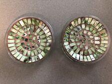 New ListingMosaic Glass Pillar Candle Plates Holders Set of Two Beautiful!