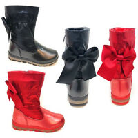 New Kids Children Girls Flat Satin Bow Party Christmas Boots Wedding Shoes