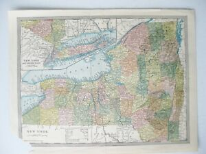 Vintage 1905 New York State Map by The Americana Company