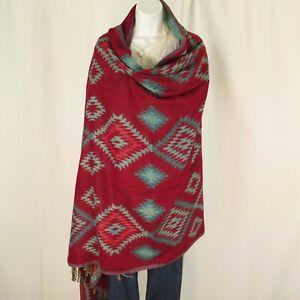 Yak Wool Blend|Shawl/Throw|Handloomed|India|Reversible|Base Colors: Dark Red