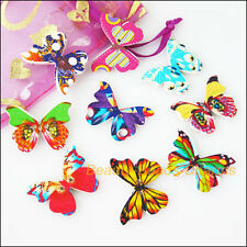 15 New Wooden Animal Butterfly Buttons Fit Sewing Or Scrapbook Mixed 20.5x27.5mm