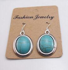 New 18KGP Tibetan Silver Encased Turquoise Oval Charm Dangle Drop Earrings