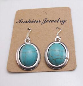 Cute New 18KGP Tibetan Silver Encased Oval Turquoise Charm Dangle Drop Earrings