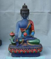 "12.4"" Old Tibet Buddhism Coloured Glaze Painting Menla Medicine Buddha Sculpture"
