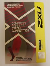 2XU Women's Striped Performance Run Compression Socks Sz: Medium CHP/GRY