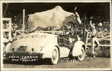 Rodeo Act Steer Bull Jumping Over Car Cecil Cornish & Danger RPPC Postcard