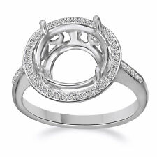 11-12MM Round Sterling Silver Pave Diamond Semi Mount Engagement Wedding Ring