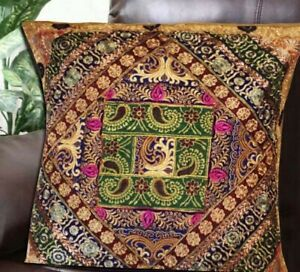 """33% OFF 30"""" KHAKI LARGE SARI ACCENT HANDCRAFTED THROW BED CUSHION PILLOW COVER"""