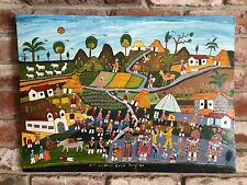 Vintage Tigua Folk Art - Ecuador - Painting on Sheepskin - Manuel Cuyo - artist.