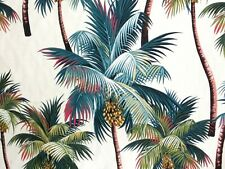 "22"" Tropical Barkcloth Fabric CHAIR SEAT/BACK SLIPCOVER /Zipper ~Palm Trees~"