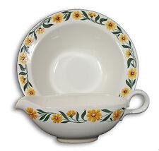 Homer Laughlin Gravy Boat & Bowl Creamy White with yellow flowers - RHYTHM