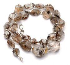 "Herkimer Diamond Crystal Rough Unpolished Nugget Shape Beads Necklace 17.5"""
