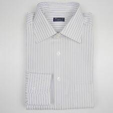 Finamore Hombres Camisa Blanco/Lila/Amarillo a rayas. Talla 40 (antiguo