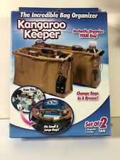 Kangaroo Keeper and Bag Organizers 1 Regular & 1 Large, Brown New In Box