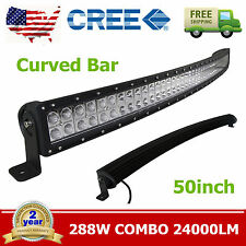 "50"" Curved 288W LED Light Bar Combo CREE Truck Boat Bumper Roof Rack 4WD Vehicle"