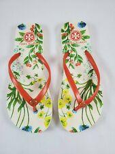 Tory Burch Women's Floral Flip Flops Size US 7.5 Red Gold Logo Flat thong Sandal
