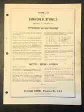 1958 Evinrude Fleetwin 7.5hp Models 7524 & 7525 Outboard Motor Parts Catalog