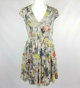 WHISTLES Silk Party Dress 10 Blush Grey Multi Abstract Floaty Layered Grommets