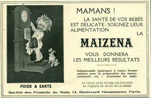 Publicité ancienne Maïzena poids & santé 1925 issue magazine