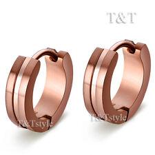 Trendy T&T Stainless Steel Hoop Earrings Choclate Ex04