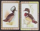 2 Single VINTAGE Swap/Playing Cards BIRDS DUCKS HOWLAND Art Silver/Gold Borders