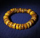 Old Natural Tibetan Yellow Amber Old Beads Bracelet Gemstone 25.8g