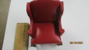 Bright Red Leather Wing Chair - Artisan Dollhouse Miniature