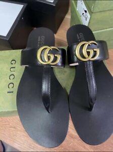Gucci GG Marmont T Strap Sandals Flip Flops Black Size 9.5
