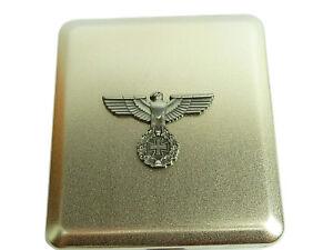 Zigarettenetui aus Metall Silber Reichsadler Adler Deutschland für 18 Zig. #298