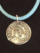 "Aethelred II Coin WC3 Made From English Pewter On a 18"" Blue Cord Necklace"