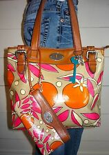 FOSSIL Key Per Coated Canvas/Leather Tote Shopper & Matching Wristlet