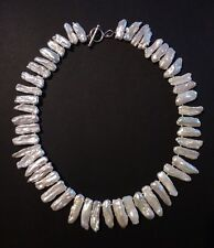 Stunning Biwa Pearl Necklace 925 Silver Toggle Clasp Bridal Wedding 55g Pretty