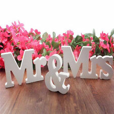 White Mr and Mrs Letters Sign Wooden Standing Top Table  Gift Wedding Decor