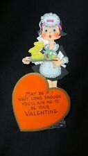 Vintage Art Deco Waitress & Pancakes Valentine Card c. 1920s Carrington