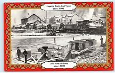 *Logging Train Town Ark Raft Kitchens Williamsport Pennsylvania Postcard B75