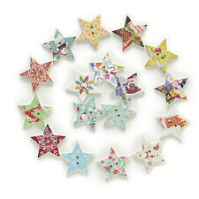 50pcs 2 Hole Mixed Stars Wood Buttons Crafts Sewing Scrapbooking Decor 25mm