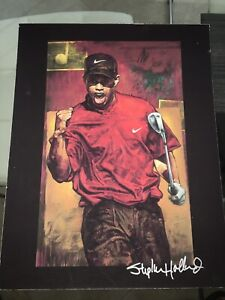 TIGER WOODS Signed Stephen Holland 11x14 Lithograph Extremely Rare Golf Masters*