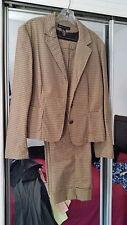 Women's Misses Ny & Co Tan/Brown Houndstooth Capri (10) & Jacket Set Suit
