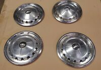 1957 Chevy Bel Air OEM Hubcaps - Original 14 inch w/ Crest - Nomad Wheel Covers