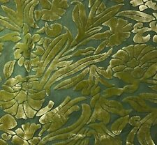 """Hand Dyed Burnout Silk VELVET Fabric YELLOW GREEN FLORAL 9""""x27"""" remnant"""