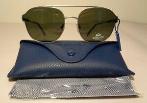 Lacoste L103SND Matte Light Ruthenium New Women's Classic Aviator Sunglasses