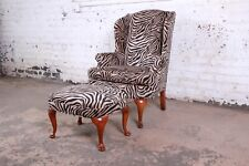 Queen Anne Style Wingback Lounge Chair and Ottoman in Zebra Print Upholstery
