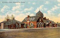 Kansas Ks Postcard c1910 ARKANSAS CITY A.T.&S.F. Railroad Depot Station