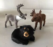 Moose, Bear, Caribou Woodland Christmas Figures Faux Fur