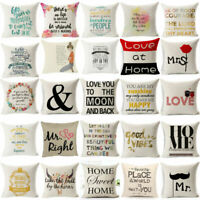Romantic Retro Words Quotes Throw Cushion Cover Pillow Case Home Sofa Car Decor